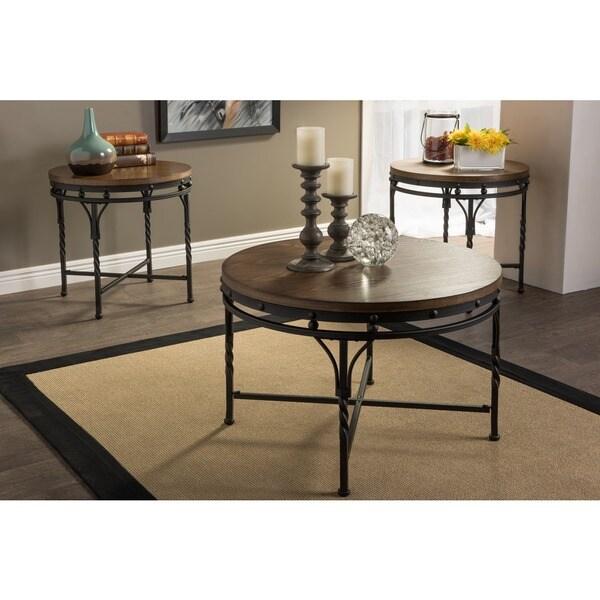 Bronze Industrial Coffee Table: Baxton Studio Austin Vintage Industrial Round Bronze 3