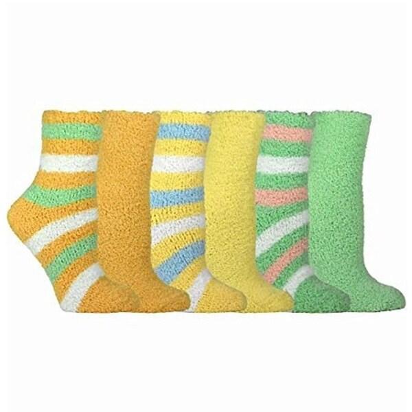 Green Rugby Socks: Women's Cozy Crew Socks Green/ Yellow/ Orange Rugby Stripe