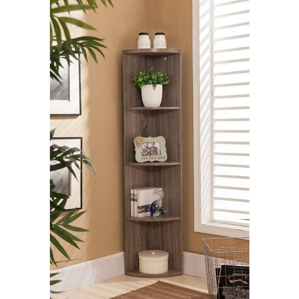 K&B BK19 Grey Wood Corner Bookcase