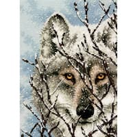 Gold Petite Wolf Counted Cross Stitch Kit5inX7in 18 Count