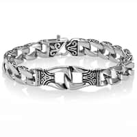 Crucible Fleur-de-lis Stainless Steel Curb Chain Bracelet