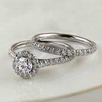 Auriya 14k Gold 1ct TDW Round Diamond Halo Engagement Ring Bridal Set