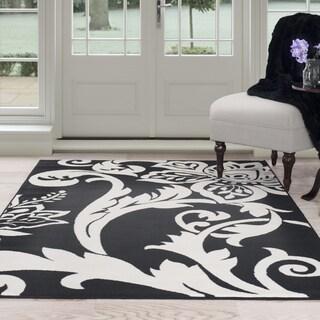 Handmade Sabrina Black New Zeeland Blend Wool Rug 8x10