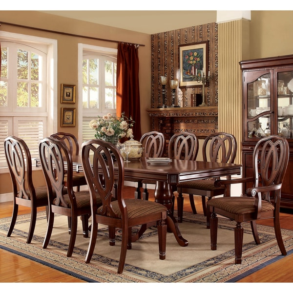 Cherry Dining Sets: Furniture Of America Woodrow Traditional 9-piece Cherry