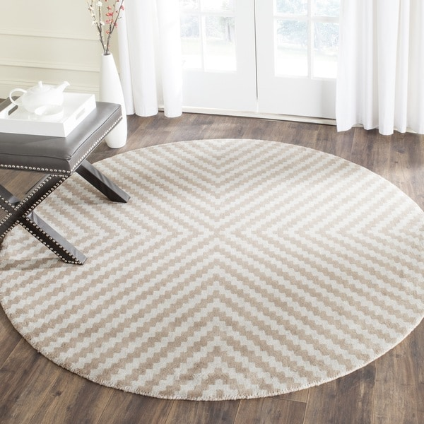 Safavieh Handmade Cambridge Grey Taupe Wool Rug 6 Round