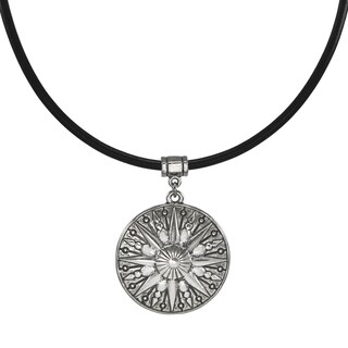Handmade Jewelry by Dawn Unisex Pewter Sun Greek Leather Cord Necklace (USA) - Black/Silver