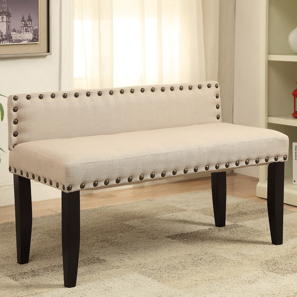 Furniture Of America Simone Flax Upholstered 42 Inch Backed Accent Bench 17659606 Overstock