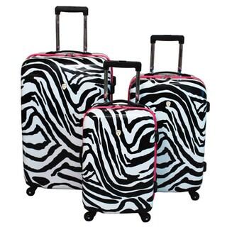 b5a7040b9 review detail Zebra/ Pink Trim 3-piece Hardside Lightweight Upright Spinner  Luggage Set