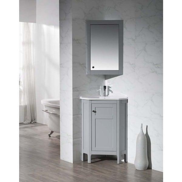Corner Vanity Mirror Bathroom Corner Medicine Cabinet: Stufurhome Clarkson Grey 24.25 Inch Corner Bathroom Vanity