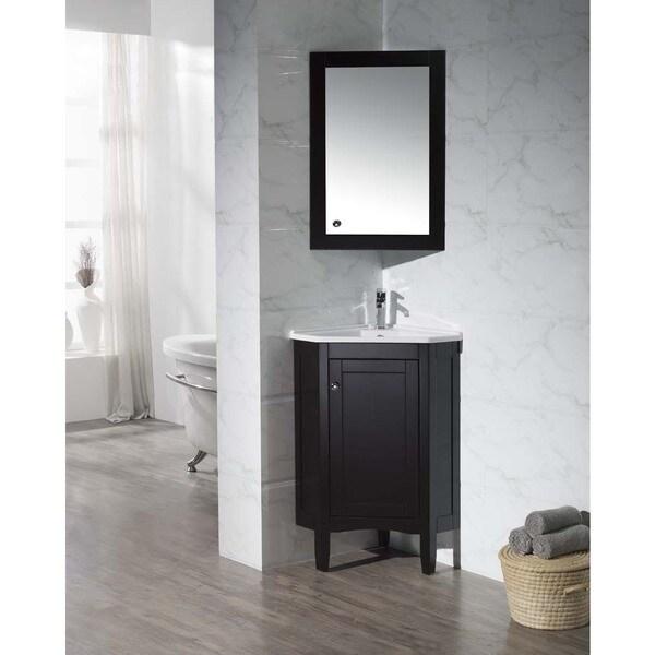 Corner Vanity Mirror Bathroom Corner Medicine Cabinet: Stufurhome Monte Espresso 25-inch Corner Bathroom Vanity