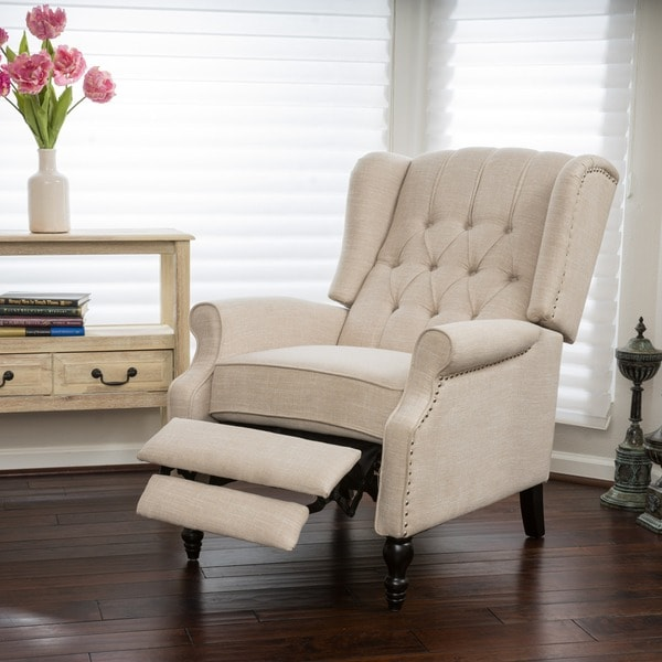 Tribecca Home Tufted Button Back Peat Microfiber Side: Christopher Knight Home Walter Light Beige Fabric Recliner