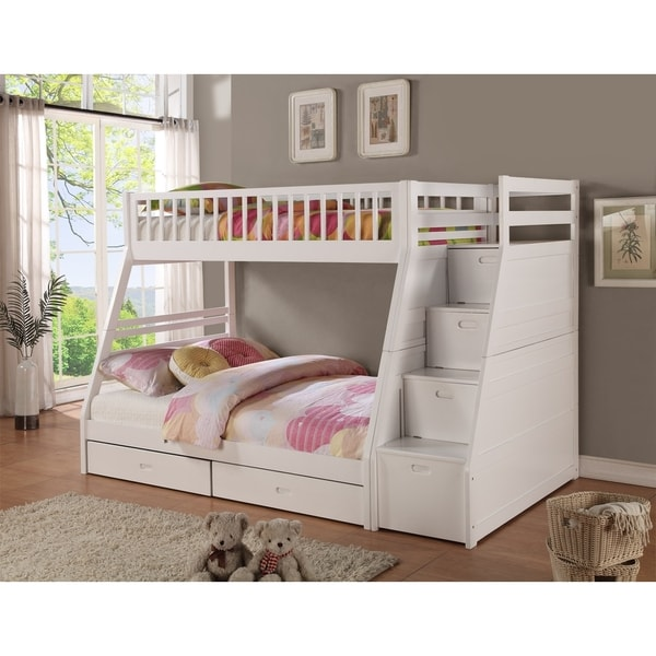 Twin Full Storage Step Bunk Bed With 2 Drawers 17665874