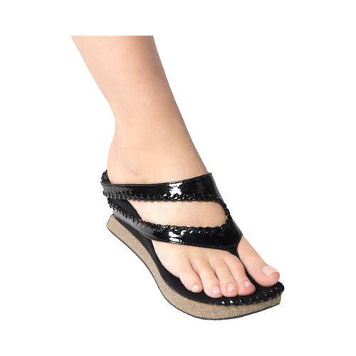 Women S Modzori Juna Wedge Thong Sandal Light Brown Black