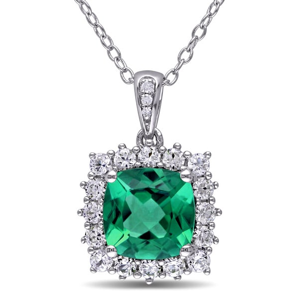 Miadora sterling silver created emerald created white sapphire and diamond accent halo necklace befa482a c933 409d 8e96 a94939d0e212 600