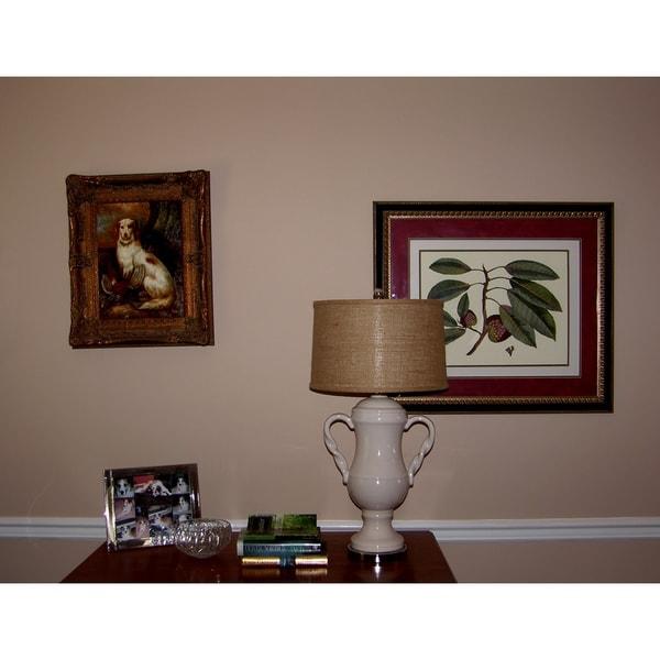 Crown Lighting 1-light Double Handled Urn Porcelain Table Lamp