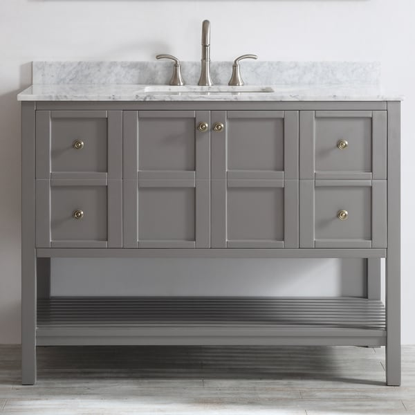 Florence 48 inch grey single vanity with carrera white - White bathroom vanity without top ...