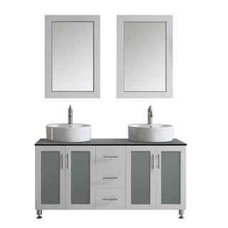 Design Element Ove 60 Inch Double Sink Vanity Set With
