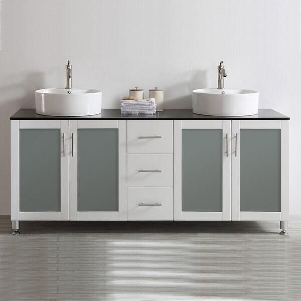 Vinnova Tuscany 72 Inch White Mirrorless Double Vanity
