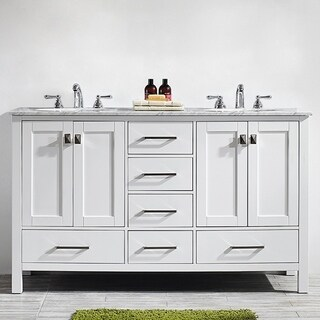 Vinnova Gela 60-inch White Double Vanity with Carrera White Marble Top without Mirror