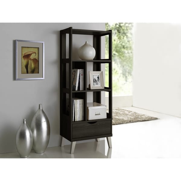 Baxton Studio Kalien Contemporary Dark Brown Wood Leaning Bookcase With Display Shelves And One