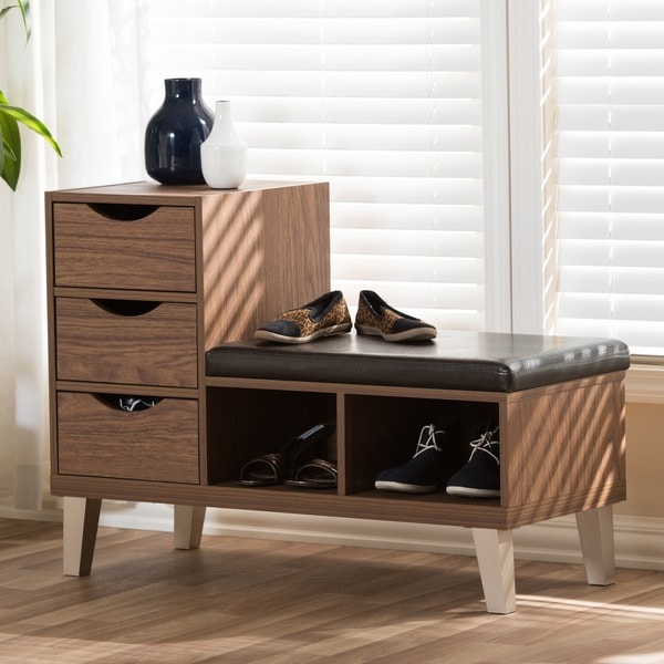 Arielle Modern 3 Drawer Shoe Storage Padded Seating Bench