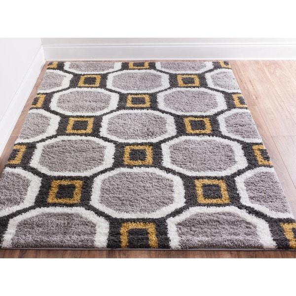 Well Woven Soft And Plush Geometric Hexagon Honeycomb