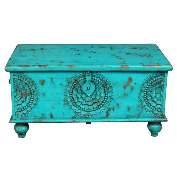 Porter Leela Teal Blue Hand Carved Medallion Coffee Table