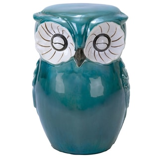 Green Ceramic Owl Stool 16863531 Overstock Com