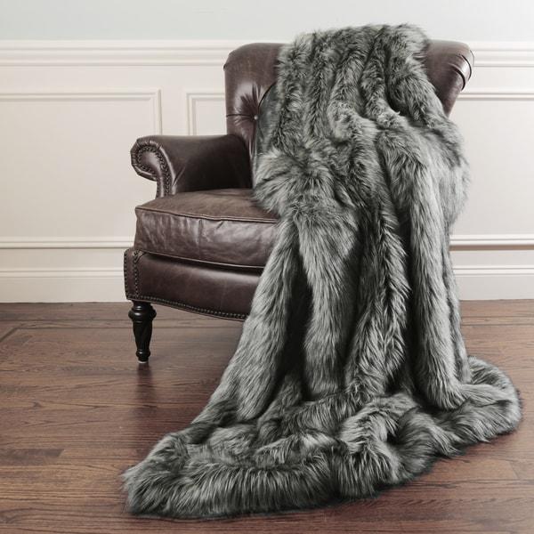 Aurora Home Silver Fox Faux Fur Throw Blanket By Wild