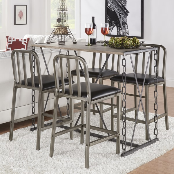 Overstock Dining Set: TRIBECCA HOME Blake Counter-height Metal Chain Link Dining