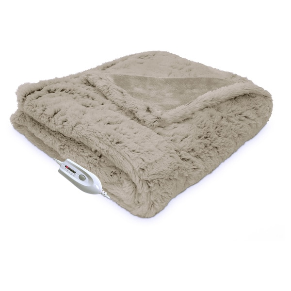 Serta Electric Heated Warming Plush Faux Fur Throw With ...