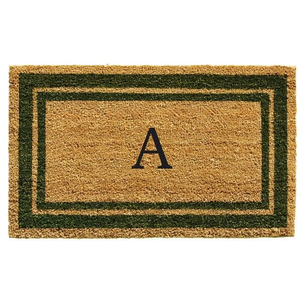 Sage Green Border Monogram Doormat (1'6 x 2'6)