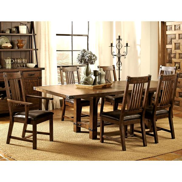 Mission Style Dining Room Set: Rimon Solid Wood Mission Style Rustic Dining Set