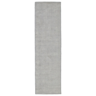 Hand Crafted Solid Grey Blue Ridges Wool Rug 2 6 X 8