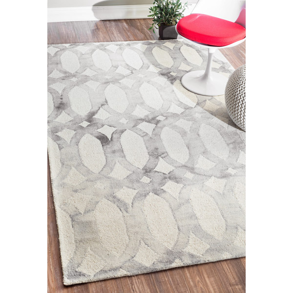 Nuloom Handmade Dip Dyed Geometric Wool Light Grey Rug 8