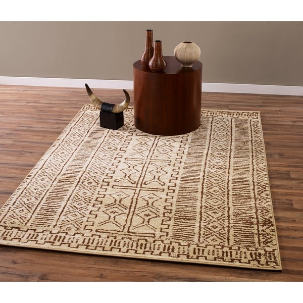 Beige And Brown Traditional Tribal Area Rug 7 10 X 9 10