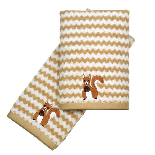 Peri Home Towels: Peri Home Embroidered Squirrel 2-piece Fingertip Towel Set