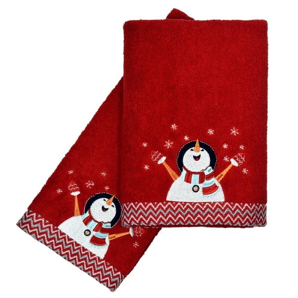 Peri Home Towels: Peri Home Embroidered Snowman 2-piece Fingertip Towel Set