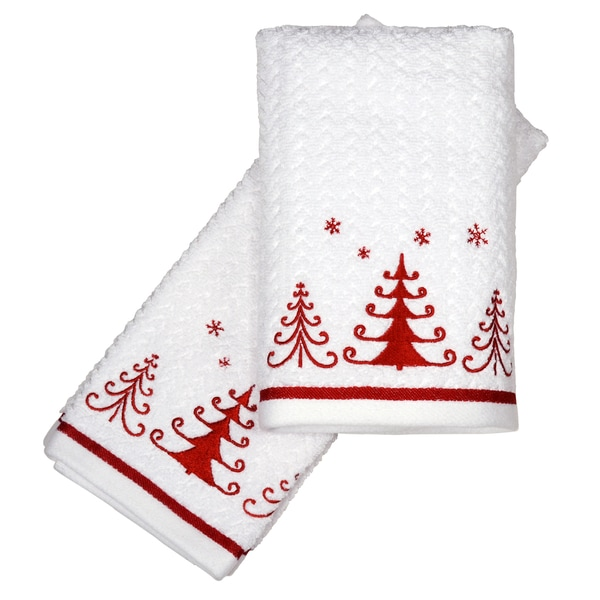 Peri Home Towels: Peri Home Embroidered Holiday Trio Trees 2-piece Fingertip