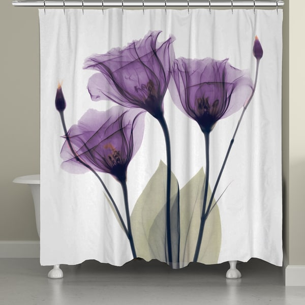 Laural Home X Ray Lavender Floral 71 X 72 Inch Shower