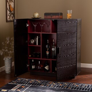 The Gray Barn Oriaga Ebony/Ruby Red Wood Bar Cabinet