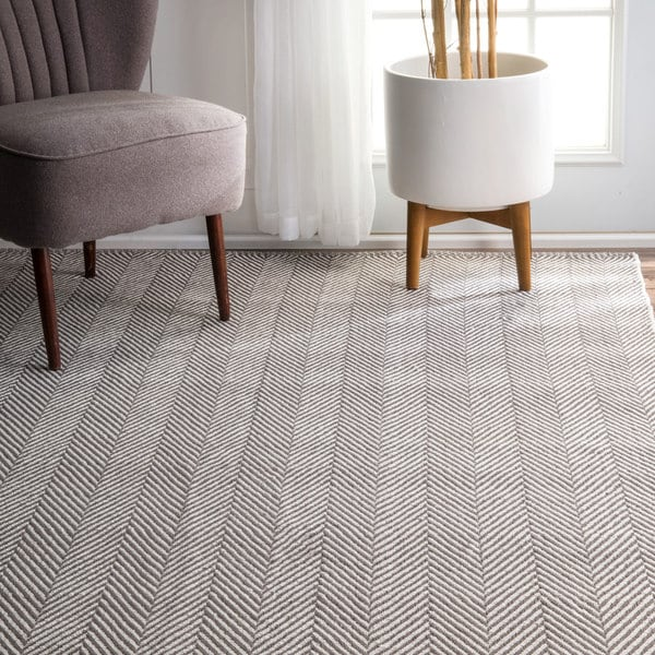 Chevron Kitchen Rug: NuLOOM Handmade Flatweave Chevron Cotton Grey Rug (9' X 12