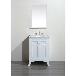 Eviva New York 24-inch White Bathroom Vanity, with White Marble Carrera Countertop, Sink