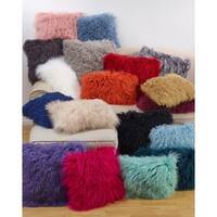 Poly Filled Wool Accent Pillow With Mongolian Lamb Fur Design