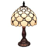 Amora Lighting Tiffany Style Jeweled Mini Table Lamp