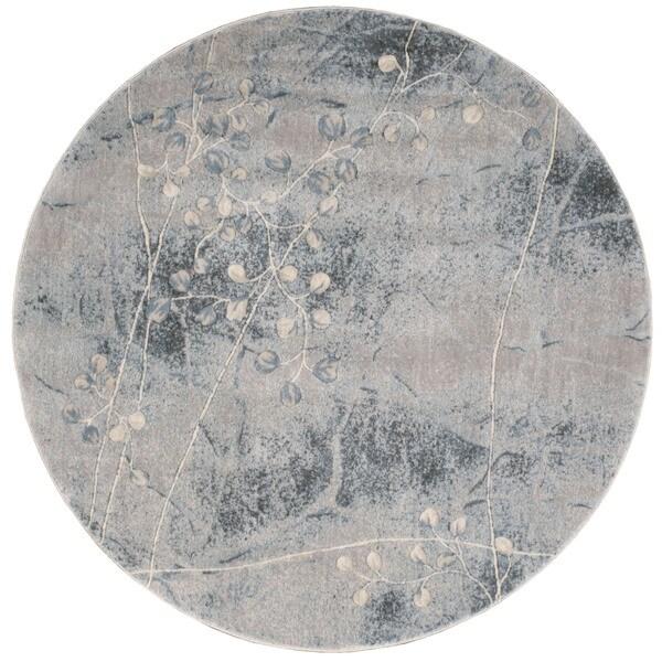 Nourison Somerset Silver Blue Round Rug 5 6 X 5 6