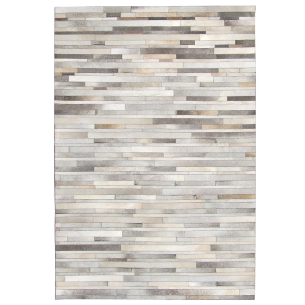 Hand Stitched Grey Cow Hide Leather Rug 8 X 10