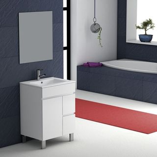 """Eviva Link® 24"""" White Modern Bathroom Vanity Wall Mount with White Integrated Porcelain Sink"""