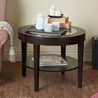 Eclipse Espresso Glass Top End Table 15094238
