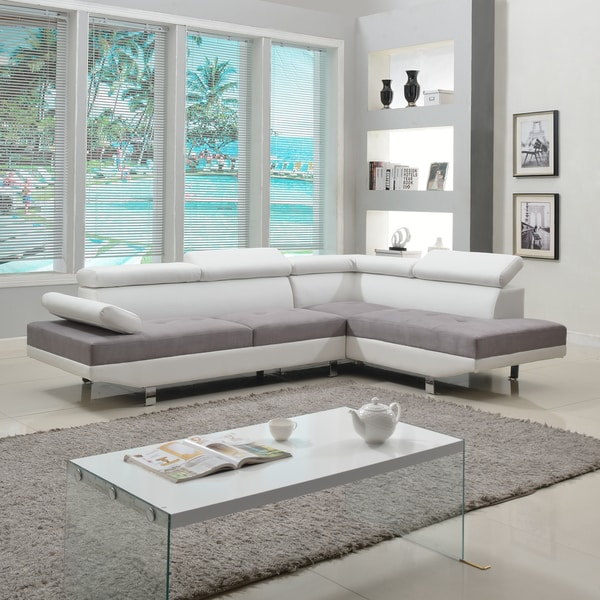 Discount Contemporary Sofas: Modern White Contemporary Two Tone Microfiber And Bonded